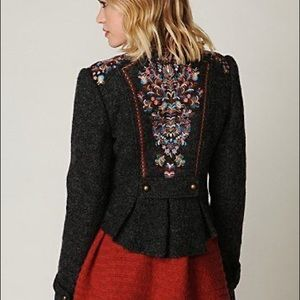 Free People Picchi Wool Embroidered Coat